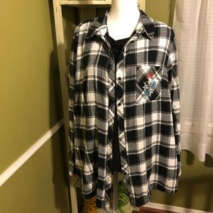 Black and white flannel shirts with embroidery